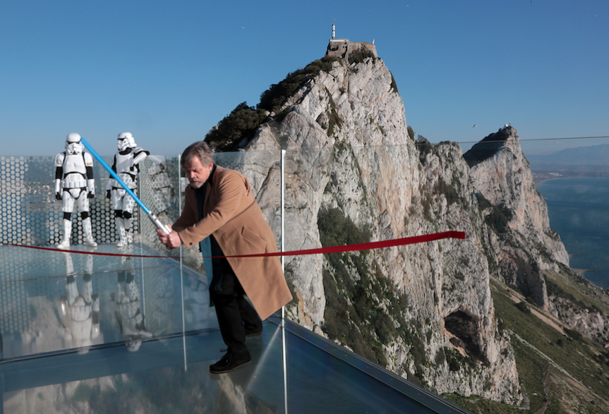 Yes he did! 'Luke Skywalker' Opens New Skywalk at One of the World's Most Symbolic Lookouts
