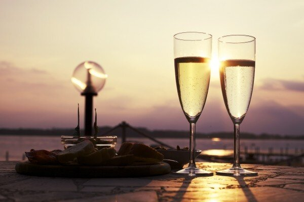 Champagne flutes and sunsets