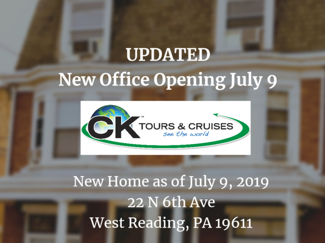 CK Tours & Cruises is Moving
