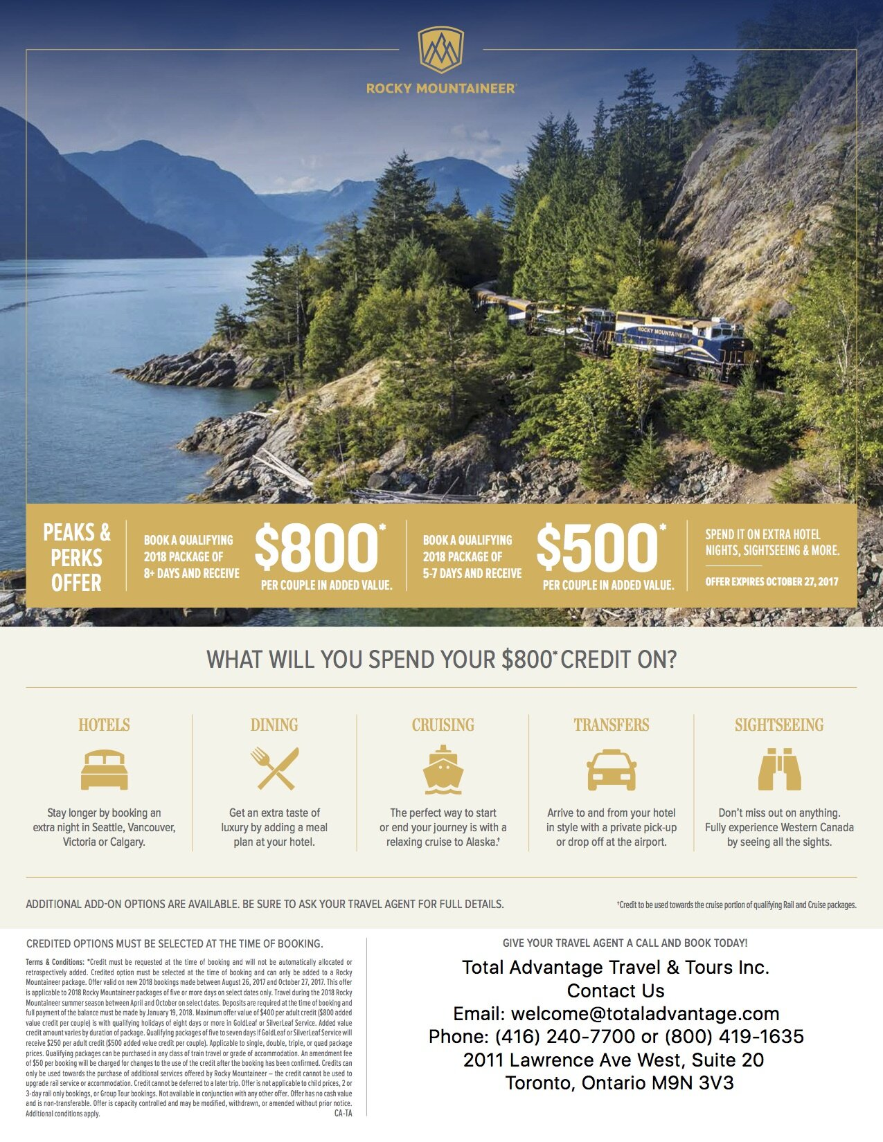Rocky Mountaineer Peaks Offer Discover Canada