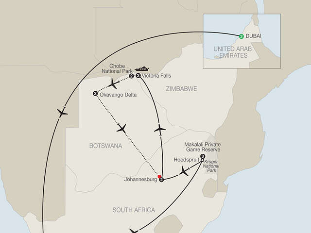 Splendors of South Africa & Victoria Falls with Dubai & Botswana