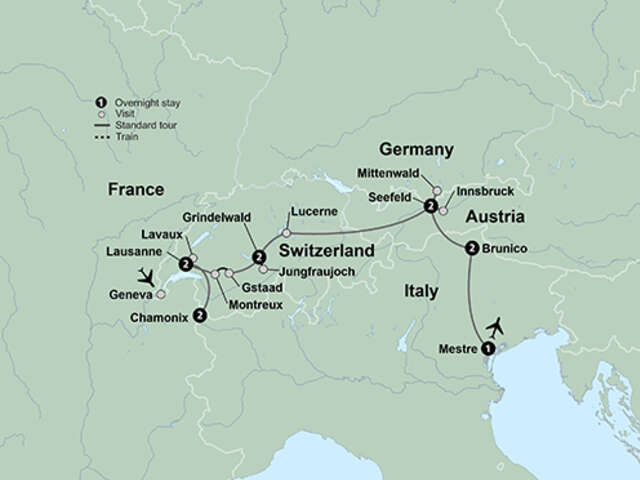 Peaks of Europe: The Alps to The Dolomites featuring France, Switzerland, Austria, Germany and Italy